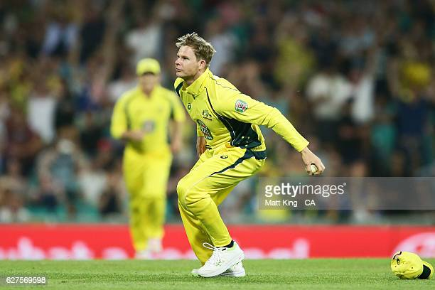 Steve Smith of Australia celebrates taking a catch to dismiss BJ Watling of New Zealand during game one of the One Day International series between...