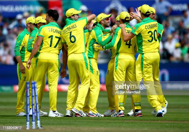 Steve Smith of Australia celebrates with his teammates after dismissing Mohammad Nabi of Afghanistan during the Group Stage match of the ICC Cricket...