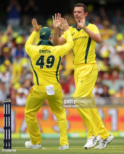 Steve Smith of Australia celebrates with Josh Hazlewood of Australia during game four of the One Day International series between Australia and...