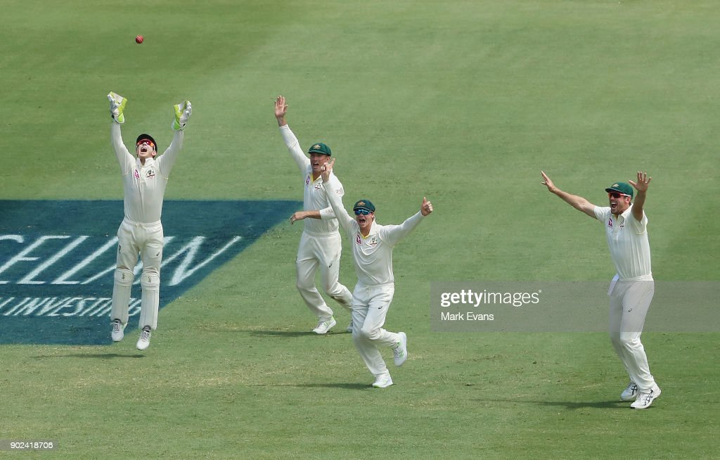 Steve Smith of Australia celebrates with team mates as Australia win the Ashes during day five of the Fifth Test match in the 2017/18 Ashes Series between Australia and England at Sydney Cricket Ground on January 8, 2018 in Sydney, Australia.