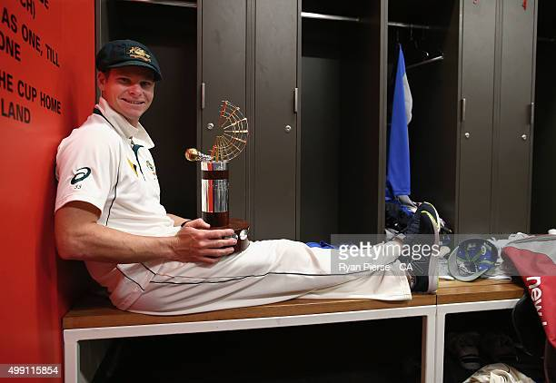 Steve Smith of Australia celebrates with the series trophy after day three of the Third Test match between Australia and New Zealand at Adelaide Oval...