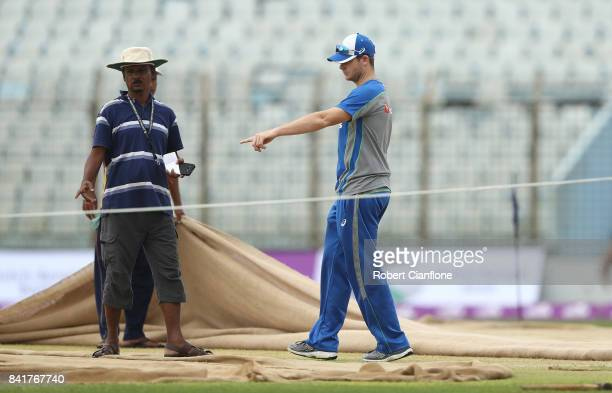 Steve Smith of Australia checks the pitch during an Australia nets session at Zahur Ahmed Chowdhury Stadium on September 2 2017 in Chittagong...