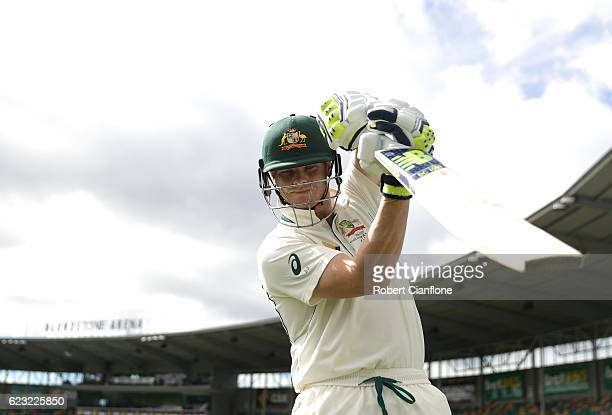Steve Smith of Australia comes out to bat during day four of the Second Test match between Australia and South Africa at Blundstone Arena on November...
