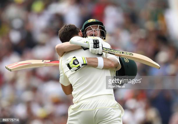 Steve Smith of Australia congratulated Mitch Marsh of Australia after he brough up his century during day three of the Third Test match during the...