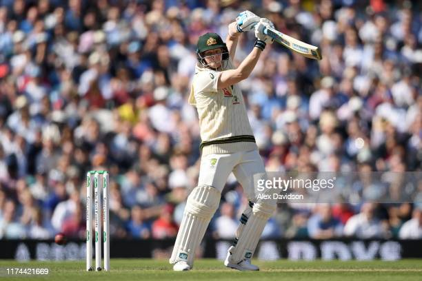 Steve Smith of Australia cuts during Day Two of the 5th Specsavers Ashes Test between England and Australia at The Kia Oval on September 13, 2019 in...