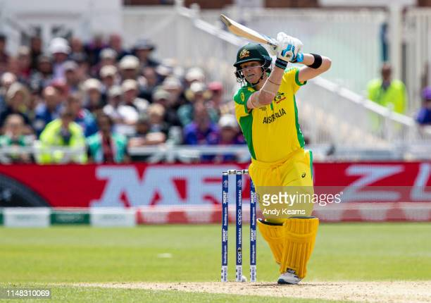 Steve Smith of Australia drives during the Group Stage match of the ICC Cricket World Cup 2019 between Australia and West Indies at Trent Bridge on...
