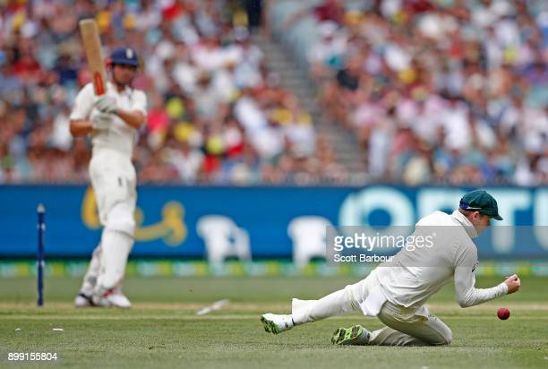 Steve Smith of Australia drops a catch from Alastair Cook of England during day three of the Fourth Test Match in the 2017/18 Ashes series between...