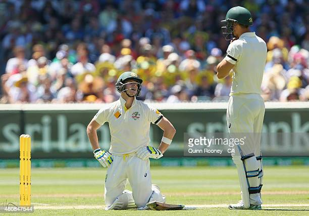 Steve Smith of Australia drops to his knees after being hit in the groin during day two of the Third Test match between Australia and India at...