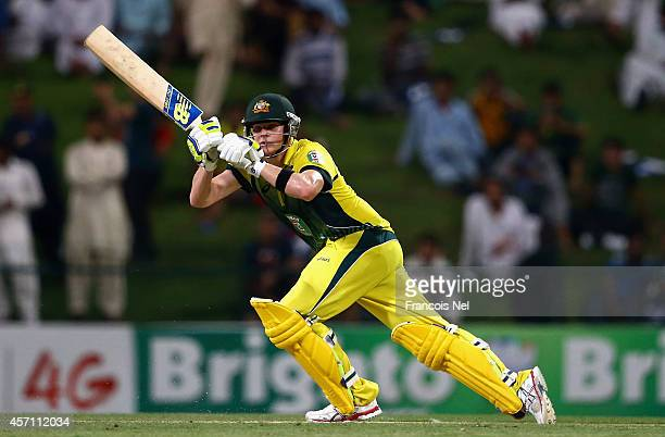 Steve Smith of Australia during the third match of the one day international series between Australia and Pakistan at Sheikh Zayed Stadium on October...