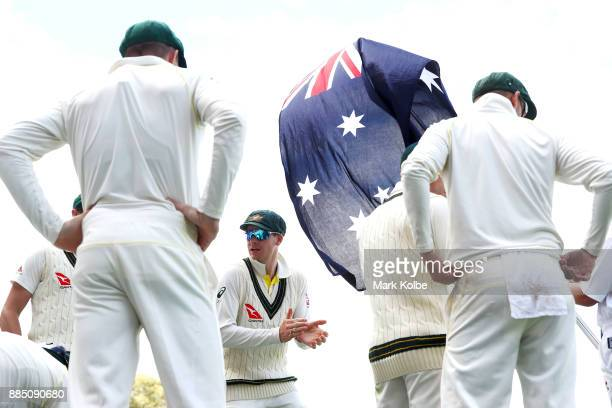 Steve Smith of Australia encourages his team before they take the field during day three of the Second Test match during the 2017/18 Ashes Series...
