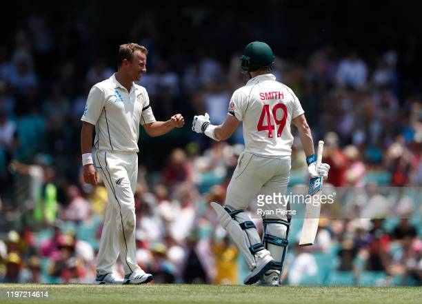 Steve Smith of Australia fist bumps Neil Wagner of New Zealand after scoring his first run after facing 39 balls during day one of the Third Test...