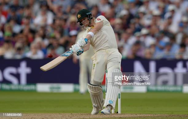 Steve Smith of Australia hits a four during the first Specsavers Test Match between England and Australia at Edgbaston on August 1 2019 in Birmingham...