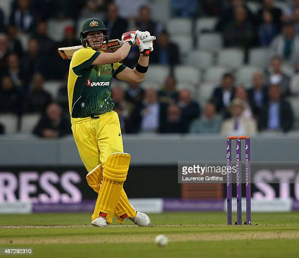 Steve Smith of Australia hits out during the 3rd Royal London OneDay International match between England and Australia at Old Trafford on September 8...
