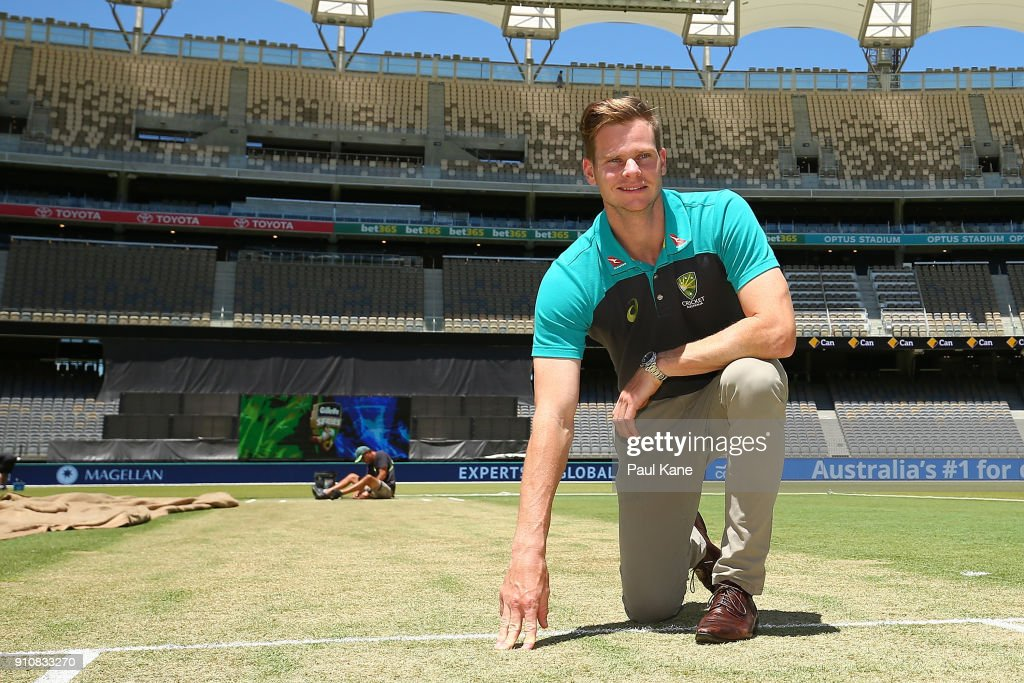 Steve Smith of Australia inspects the pitch ahead of the fifth One Day International match between Australian and England at Optus Stadium on January 27, 2018 in Perth, Australia.