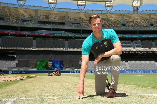Steve Smith of Australia inspects the pitch ahead of the fifth One Day International match between Australian and England at Optus Stadium on January...
