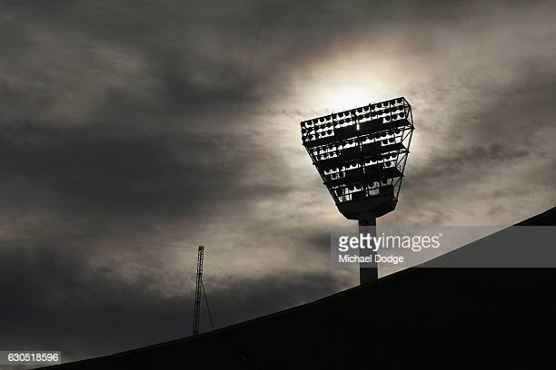 Steve Smith of Australia inspects the pitch during day one of the Second Test match between Australia and Pakistan at Melbourne Cricket Ground on...