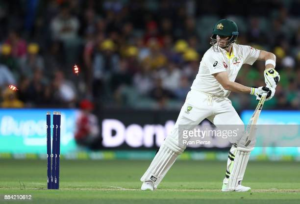 Steve Smith of Australia is bowled by Craig Overton of England during day one of the Second Test match during the 2017/18 Ashes Series between...