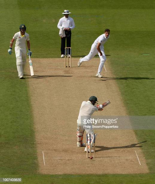 Steve Smith of Australia is bowled by Steven Finn of England for 143 in the 5th Ashes Test match between England and Australia at The Oval London...