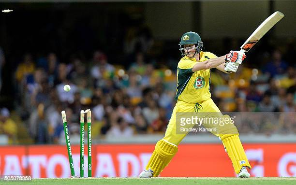 Steve Smith of Australia is bowled by Umesh Yadav of India during game two of the Victoria Bitter One Day International Series between Australia and...
