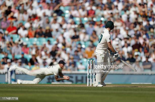 Steve Smith of Australia is caught by Ben Stokes of England off the bowling of Stuart Broad of England during day four of the 5th Specsavers Ashes...