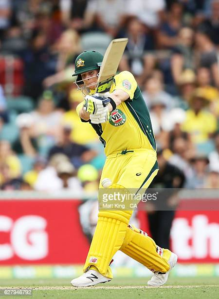 Steve Smith of Australia is hit in the groin by the ball as het bats during game two of the One Day International series between Australia and New...