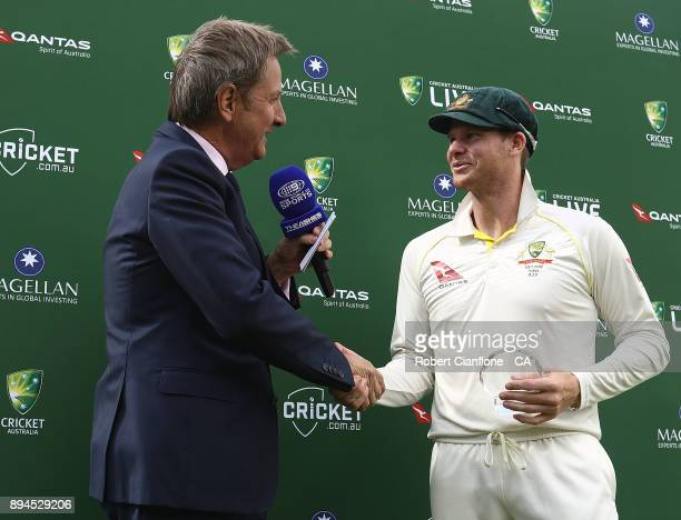Steve Smith of Australia is presented with the man of the match award after Australia defeated England to win the Ashes during day five of the Third...