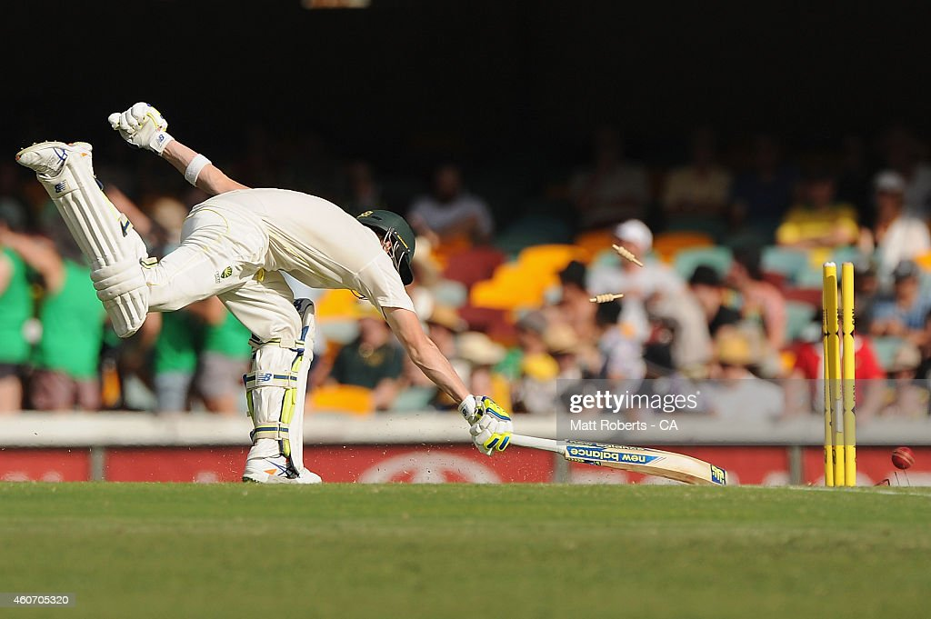 Steve Smith of Australia is run out during day four of the 2nd Test match between Australia and India at The Gabba on December 20, 2014 in Brisbane, Australia.