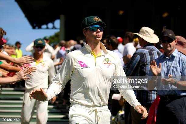 Steve Smith of Australia leads his team onto the field during day two of the Fifth Test match in the 2017/18 Ashes Series between Australia and...