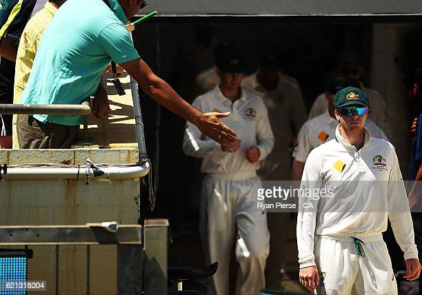 Steve Smith of Australia leads his team out during day four of the First Test match between Australia and South Africa at WACA on November 6 2016 in...