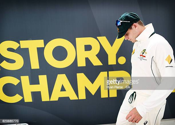 Steve Smith of Australia leads his team out during day one of the First Test match between Australia and South Africa at WACA on November 3 2016 in...