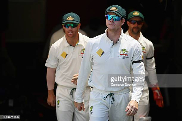 Steve Smith of Australia leads team mates onto the field during day four of the Third Test match between Australia and South Africa at Adelaide Oval...
