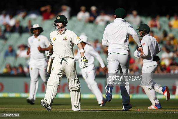 Steve Smith of Australia leaves the field after getting runout during day two of the Third Test match between Australia and South Africa at Adelaide...