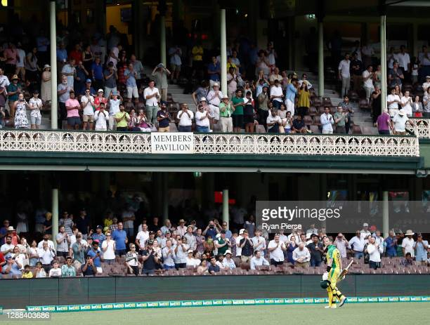Steve Smith of Australia leaves the ground after being dismissed for 104 runs during game two of the One Day International series between Australia...