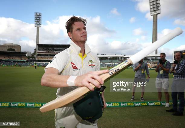 Steve Smith of Australia leaves the ground at stumps during day three of the Third Test match during the 2017/18 Ashes Series between Australia and...