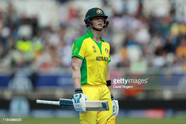 Steve Smith of Australia looks dejected after being caught out by Sheldon Cottrell during the Group Stage match of the ICC Cricket World Cup 2019...
