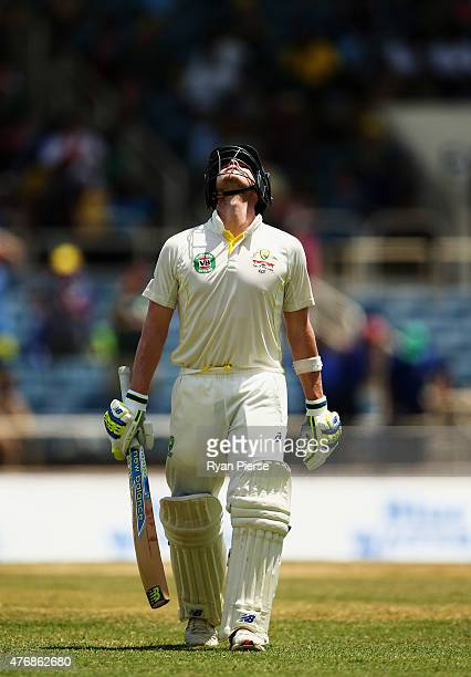 Steve Smith of Australia looks dejected after being dismissed by Jerome Taylor of West Indies for 199 runs during day two of the Second Test match...