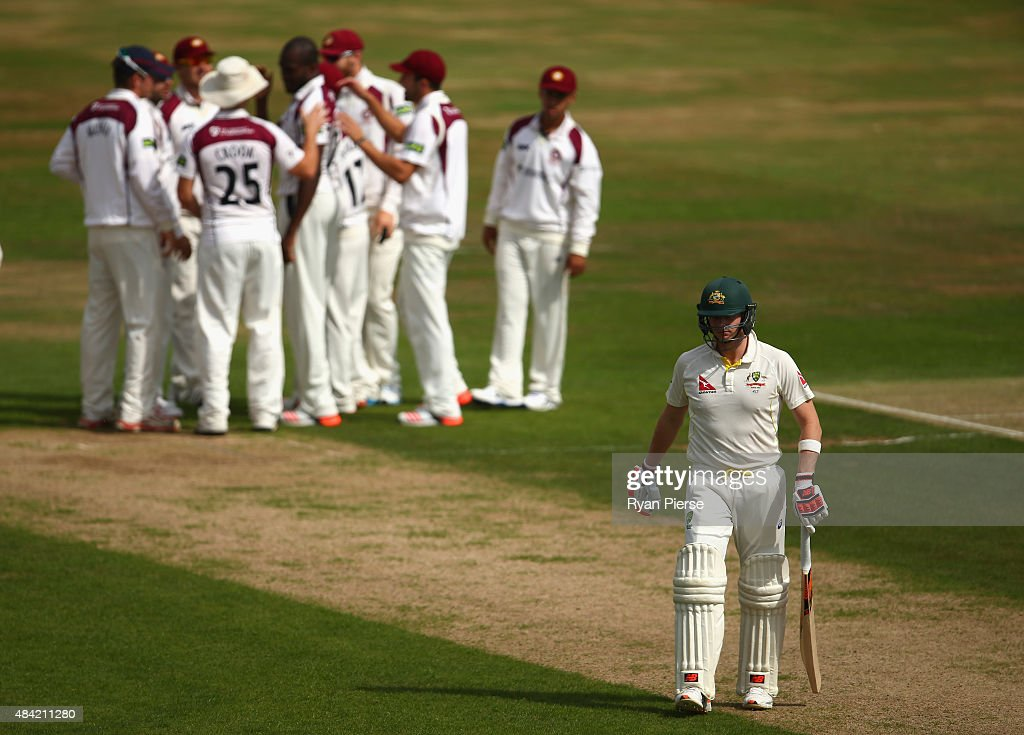 Steve Smith of Australia looks dejected after being dismissed by Maurice Chambers of Northamptonshire during day three of the tour match between Northamptonshire and Australia at The County Ground on August 16, 2015 in Northampton, England.