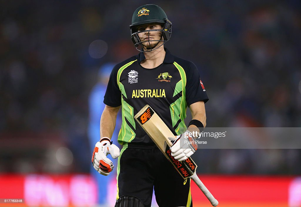 Steve Smith of Australia looks dejected after being dismissed by Yuvraj Singh of India during the ICC WT20 India Group 2 match between India and...