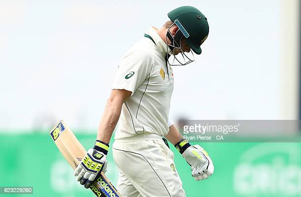 Steve Smith of Australia looks dejected after being dismissed by Kagiso Rabada of South Africa during day four of the Second Test match between...