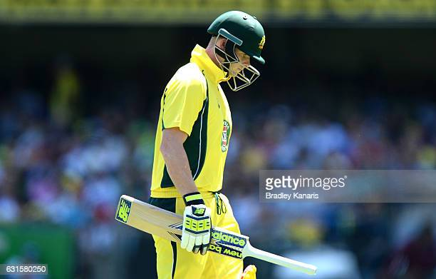 Steve Smith of Australia looks dejected after losing his wicket during game one of the One Day International series between Australia and Pakistan at...