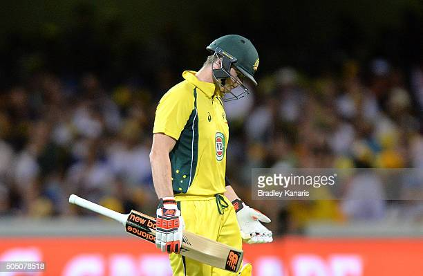Steve Smith of Australia looks dejected after losing his wicket to Umesh Yadav of India during game two of the Victoria Bitter One Day International...