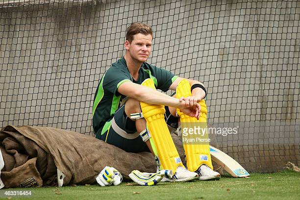 Steve Smith of Australia looks o during an Australian nets session at Melbourne Cricket Ground on February 13, 2015 in Melbourne, Australia.