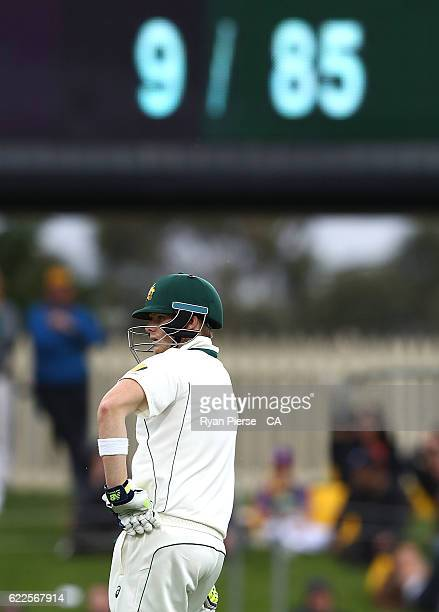 Steve Smith of Australia looks on as Australia's score is 9/85 during day one of the Second Test match between Australia and South Africa at...