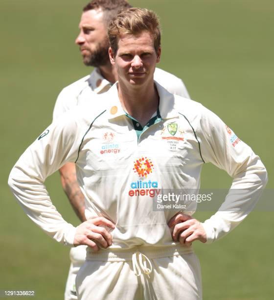 Steve Smith of Australia looks on during an Australian nets session at Adelaide Oval on December 15, 2020 in Adelaide, Australia.