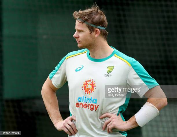 Steve Smith of Australia looks on during an Australian Nets Session at the Melbourne Cricket Ground on December 25, 2020 in Melbourne, Australia.