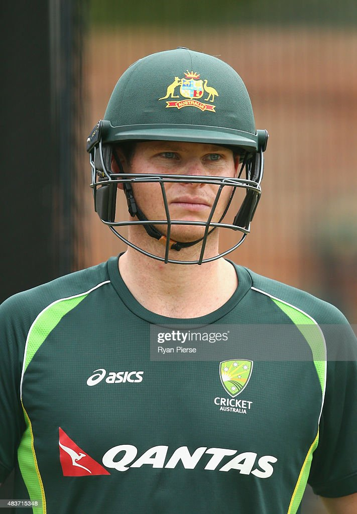 Steve Smith of Australia looks on during an Australian Nets Session at The County Ground on August 12, 2015 in Northampton, England.