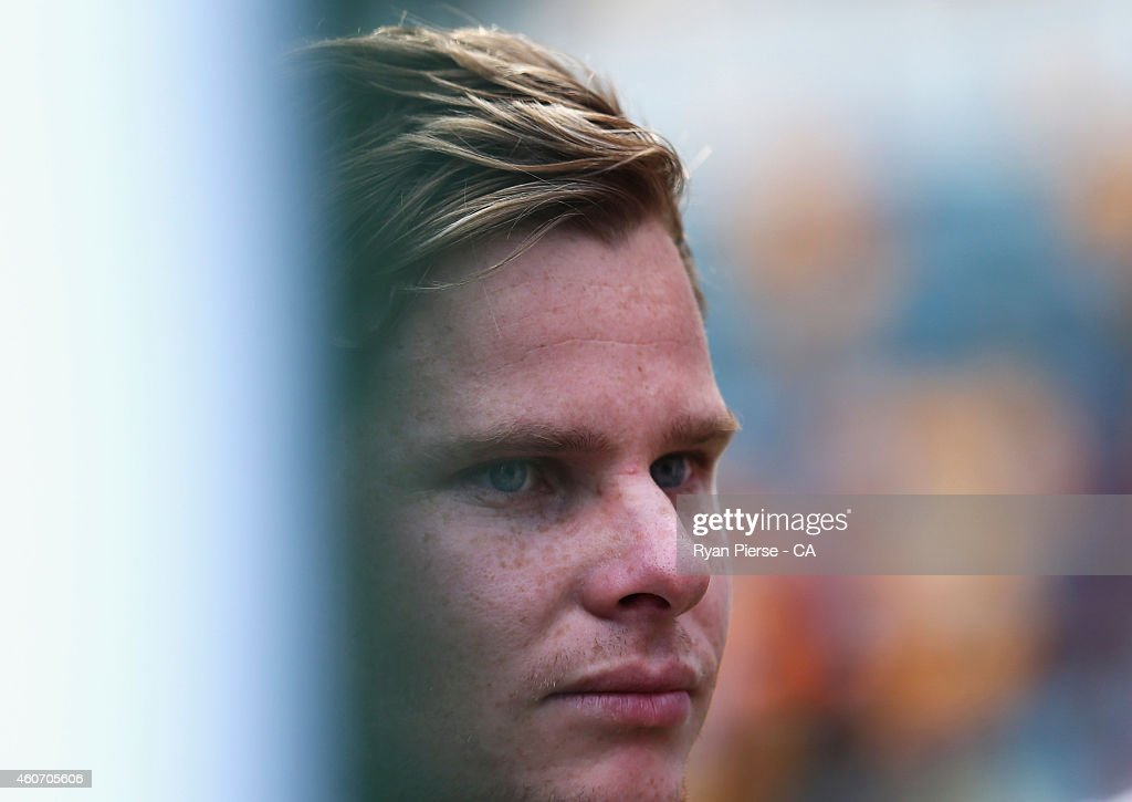 Steve Smith of Australia looks on during day four of the 2nd Test match between Australia and India at The Gabba on December 20, 2014 in Brisbane, Australia.