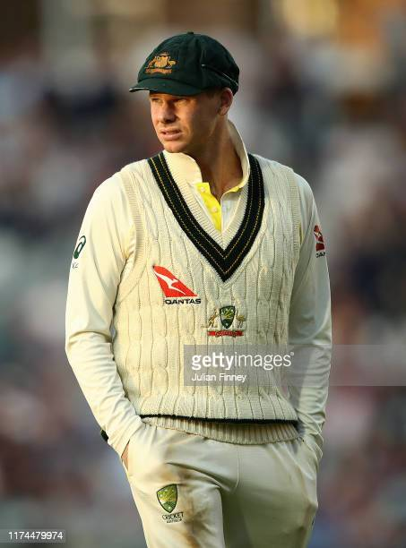 Steve Smith of Australia looks on during day two of the 5th Specsavers Ashes Test match between England and Australia at The Kia Oval on September...