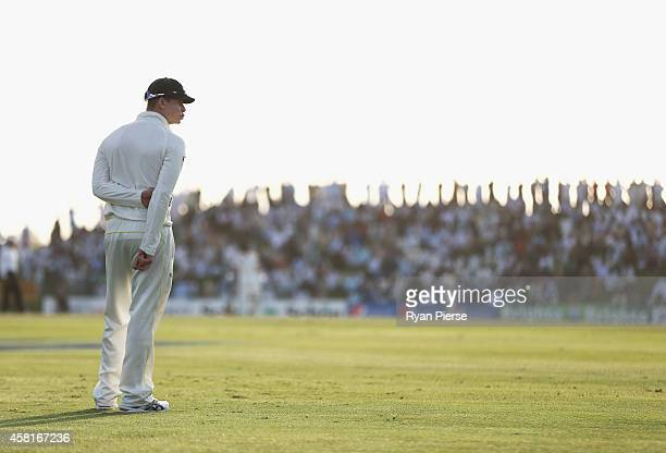 Steve Smith of Australia looks on during Day Two of the Second Test between Pakistan and Australia at Sheikh Zayed Stadium at Sheikh Zayed stadium on...