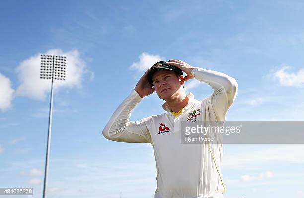 Steve Smith of Australia looks on during day two of the tour match between Northamptonshire and Australia at The County Ground on August 15 2015 in...